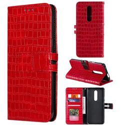 Luxury Crocodile Magnetic Leather Wallet Phone Case for OnePlus 7 Pro - Red