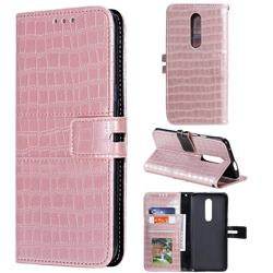 Luxury Crocodile Magnetic Leather Wallet Phone Case for OnePlus 7 Pro - Rose Gold