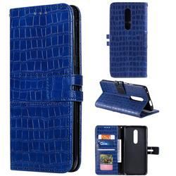 Luxury Crocodile Magnetic Leather Wallet Phone Case for OnePlus 7 Pro - Blue
