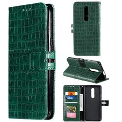 Luxury Crocodile Magnetic Leather Wallet Phone Case for OnePlus 7 Pro - Green