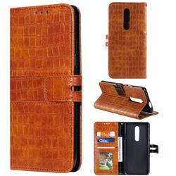 Luxury Crocodile Magnetic Leather Wallet Phone Case for OnePlus 7 Pro - Brown