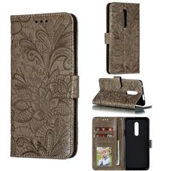 Intricate Embossing Lace Jasmine Flower Leather Wallet Case for OnePlus 7 Pro - Gray
