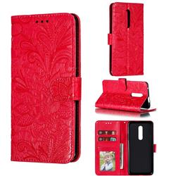 Intricate Embossing Lace Jasmine Flower Leather Wallet Case for OnePlus 7 Pro - Red