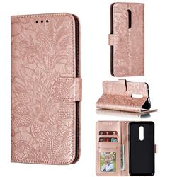 Intricate Embossing Lace Jasmine Flower Leather Wallet Case for OnePlus 7 Pro - Rose Gold