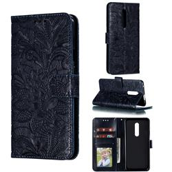 Intricate Embossing Lace Jasmine Flower Leather Wallet Case for OnePlus 7 Pro - Dark Blue