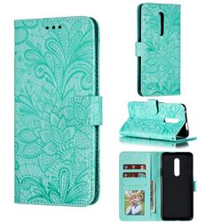 Intricate Embossing Lace Jasmine Flower Leather Wallet Case for OnePlus 7 Pro - Green