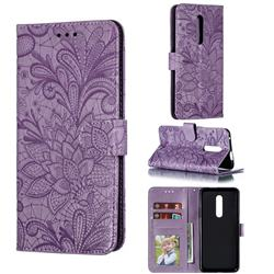 Intricate Embossing Lace Jasmine Flower Leather Wallet Case for OnePlus 7 Pro - Purple