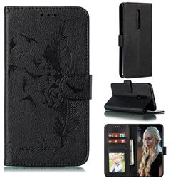 Intricate Embossing Lychee Feather Bird Leather Wallet Case for OnePlus 7 Pro - Black