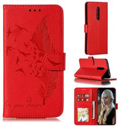Intricate Embossing Lychee Feather Bird Leather Wallet Case for OnePlus 7 Pro - Red