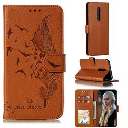 Intricate Embossing Lychee Feather Bird Leather Wallet Case for OnePlus 7 Pro - Brown