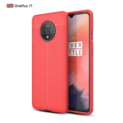 Luxury Auto Focus Litchi Texture Silicone TPU Back Cover for OnePlus 7T - Red