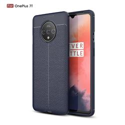 Luxury Auto Focus Litchi Texture Silicone TPU Back Cover for OnePlus 7T - Dark Blue