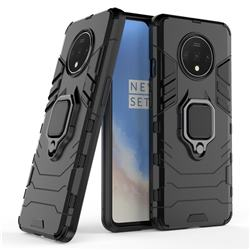 Black Panther Armor Metal Ring Grip Shockproof Dual Layer Rugged Hard Cover for OnePlus 7T - Black