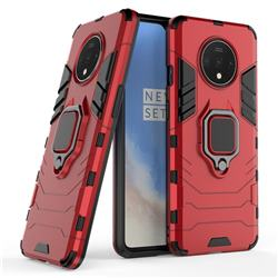 Black Panther Armor Metal Ring Grip Shockproof Dual Layer Rugged Hard Cover for OnePlus 7T - Red