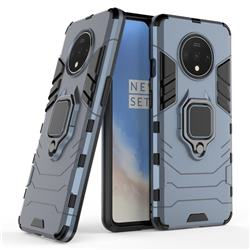 Black Panther Armor Metal Ring Grip Shockproof Dual Layer Rugged Hard Cover for OnePlus 7T - Blue