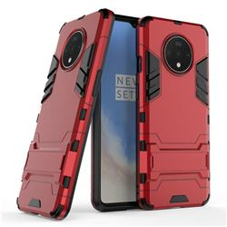 Armor Premium Tactical Grip Kickstand Shockproof Dual Layer Rugged Hard Cover for OnePlus 7T - Wine Red