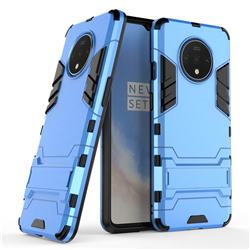 Armor Premium Tactical Grip Kickstand Shockproof Dual Layer Rugged Hard Cover for OnePlus 7T - Light Blue
