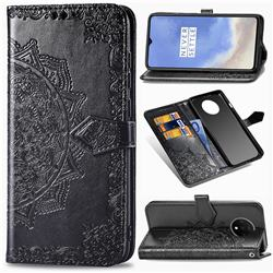 Embossing Imprint Mandala Flower Leather Wallet Case for OnePlus 7T - Black