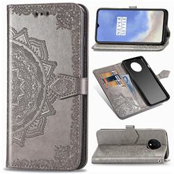 Embossing Imprint Mandala Flower Leather Wallet Case for OnePlus 7T - Gray