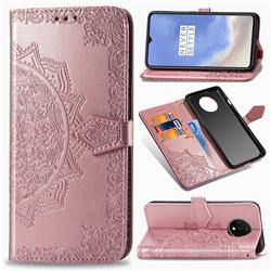 Embossing Imprint Mandala Flower Leather Wallet Case for OnePlus 7T - Rose Gold