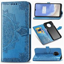 Embossing Imprint Mandala Flower Leather Wallet Case for OnePlus 7T - Blue