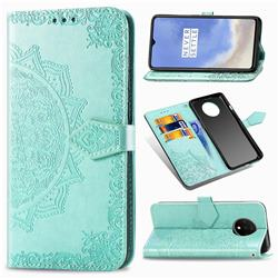 Embossing Imprint Mandala Flower Leather Wallet Case for OnePlus 7T - Green