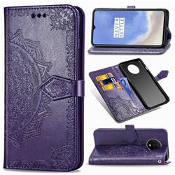 Embossing Imprint Mandala Flower Leather Wallet Case for OnePlus 7T - Purple