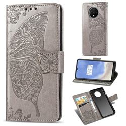Embossing Mandala Flower Butterfly Leather Wallet Case for OnePlus 7T - Gray