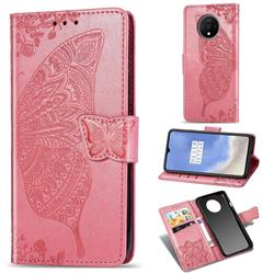 Embossing Mandala Flower Butterfly Leather Wallet Case for OnePlus 7T - Pink