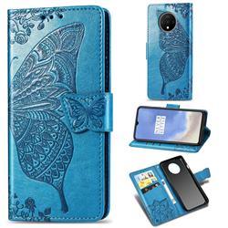 Embossing Mandala Flower Butterfly Leather Wallet Case for OnePlus 7T - Blue
