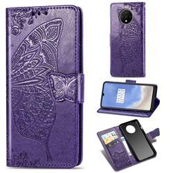 Embossing Mandala Flower Butterfly Leather Wallet Case for OnePlus 7T - Dark Purple