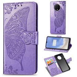 Embossing Mandala Flower Butterfly Leather Wallet Case for OnePlus 7T - Light Purple