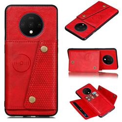 Retro Multifunction Card Slots Stand Leather Coated Phone Back Cover for OnePlus 7T - Red