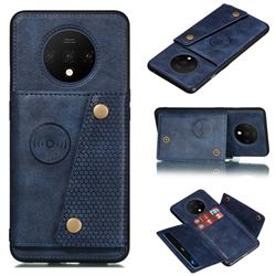 Retro Multifunction Card Slots Stand Leather Coated Phone Back Cover for OnePlus 7T - Blue