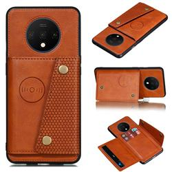 Retro Multifunction Card Slots Stand Leather Coated Phone Back Cover for OnePlus 7T - Brown