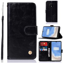 Luxury Retro Leather Wallet Case for OnePlus 7T - Black