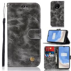 Luxury Retro Leather Wallet Case for OnePlus 7T - Gray