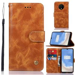 Luxury Retro Leather Wallet Case for OnePlus 7T - Golden