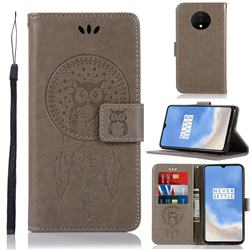 Intricate Embossing Owl Campanula Leather Wallet Case for OnePlus 7T - Grey