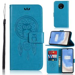 Intricate Embossing Owl Campanula Leather Wallet Case for OnePlus 7T - Blue