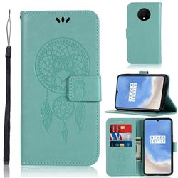 Intricate Embossing Owl Campanula Leather Wallet Case for OnePlus 7T - Green