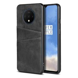Simple Calf Card Slots Mobile Phone Back Cover for OnePlus 7T - Black