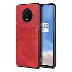 Simple Calf Card Slots Mobile Phone Back Cover for OnePlus 7T - Red