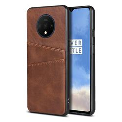 Simple Calf Card Slots Mobile Phone Back Cover for OnePlus 7T - Coffee