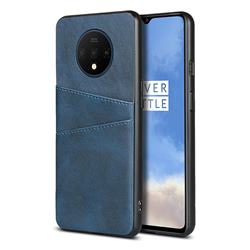 Simple Calf Card Slots Mobile Phone Back Cover for OnePlus 7T - Blue