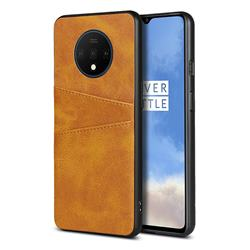 Simple Calf Card Slots Mobile Phone Back Cover for OnePlus 7T - Yellow
