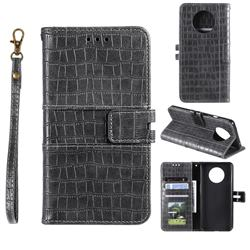 Luxury Crocodile Magnetic Leather Wallet Phone Case for OnePlus 7T - Gray