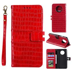 Luxury Crocodile Magnetic Leather Wallet Phone Case for OnePlus 7T - Red
