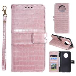Luxury Crocodile Magnetic Leather Wallet Phone Case for OnePlus 7T - Rose Gold