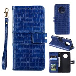 Luxury Crocodile Magnetic Leather Wallet Phone Case for OnePlus 7T - Blue